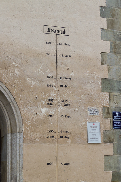 Flood watermarks over the centuries.  Note the highest is also the most recent.