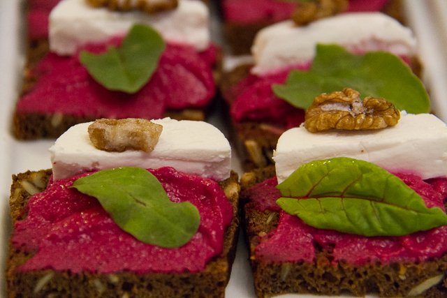 Beet root puree with goat cheese from Sister's bistro